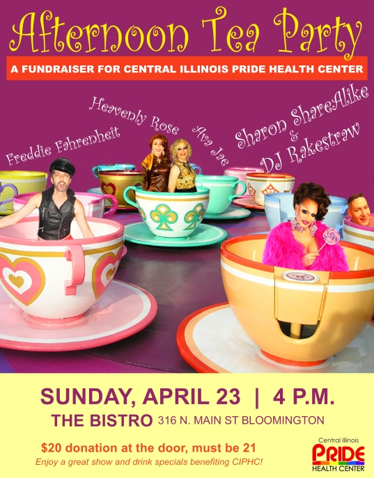 On Sunday April 23rd The Bistro is hosting a fundraiser for Central Illinois Pride Health Center! Enjoy a great show and drink specials benefiting CIPHC for only a $20 Donation at the door. Must be at least 21 to attend 316 N Main St, Bloomington, Illinois
